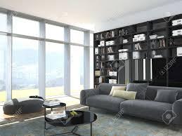 3d rendering modern und holz bücherregal in einem wohnzimmer