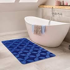 paco home badematte kurzflor teppich badezimmer antirutsch waschbar mit ornament muster grösse 70x120 cm farbe blau