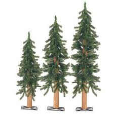 3 Piece Alpine Green Cedar Artificial Christmas Tree Set 110 Clear White Lights And Stands