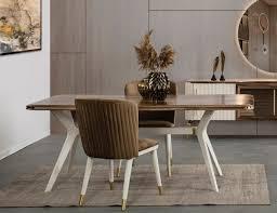 casa padrino luxus deco esszimmer set braun weiß gold 1 esszimmertisch 6 esszimmerstühle deco esszimmer möbel