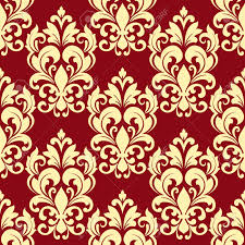 Floral Seamless Pattern With Beige Flowers On Maroon Background For Interior Design Stock Vector