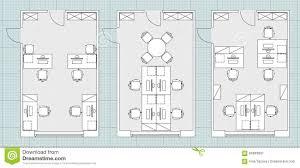 standard office furniture symbols on floor plans stock vector