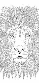 Lion Coloring Pages Printable Adult Book Clip Art Hand Drawn Original Zentangle Colouring Page