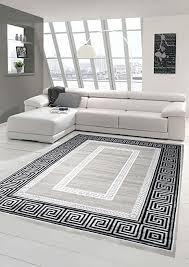 designer teppich moderner teppich wohnzimmer teppich mit ornament bordüre grau schwarz größe 80x150 cm