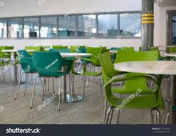 100 College Table And Chairs White S Green Large Canteen Stock Photo Edit Now