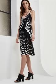 lose control midi dress black and white spot c meo collective bnkr