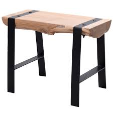 design sitzhocker wl5 609 60 x 45 x 28 cm vollholz akazie hocker holzhocker mit metallbeinen kleine sitzbank esszimmer beistellhocker wohnzimmer