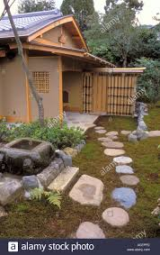 100 Backyard Tea House Stepping Stone Pathway Leading To A Japanese Garden Tea House Stock