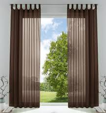 2er pack gardinen transparent vorhang set wohnzimmer voile schlaufenschal mit bleibandabschluß hxb 225x140 cm braun 61000cn