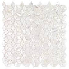 splashback tile pacif white 3d illusion pearl shell mosaic tile 3