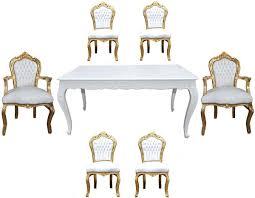 casa padrino barock esszimmer set weiß gold esstisch 6