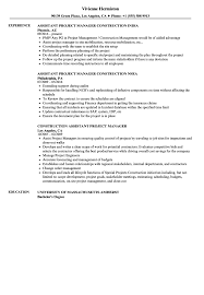 100 Assistant Project Manager Resume Construction Samples Velvet Jobs