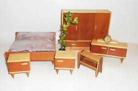 details about puppenstube möbel 50er jahre schlafzimmer sideboard schrank bett pflanze vintage