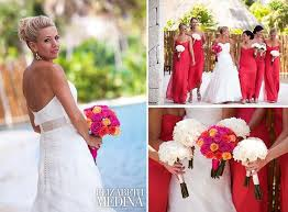 Coordinating Bridesmaid Styles A Different Color For The Maid Of Honor