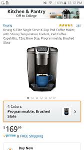 Keurig K Elite Single Serve Cup Pod Coffee Maker With Strong Temperature Control Iced Capability 12oz Brew SizeBrushed Slate For Sale In South