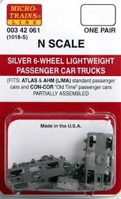 99 N Scale Trucks MicroTrains Silver 6Wheel Lightweight Passenger Car