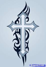 Tribal Cross Tattoo Design Art
