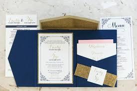 Wedding Invitations With Pocket Formal Navy Blue Gold Glitter Blush Invitation Rustic