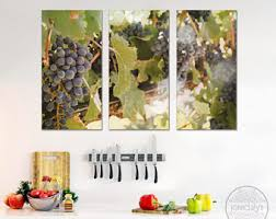 Wine And Grapes Kitchen Decor by Grape Wall Decor Etsy