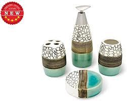 bad accessoires set keramik bad zubehör set exquisite badezimmer set 4 teilig seifenspender pumpe zahnbürstenhalter becher seifenschale set