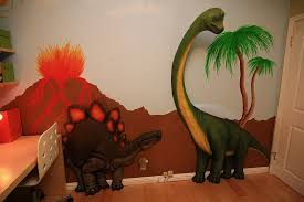 Bedroom Beautiful Vulcanoes Paintings Coupled With Nice 3D Dinosaur Character Decorating Kids Concept Looks