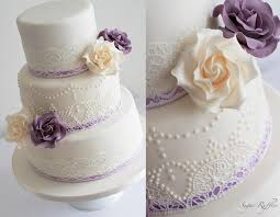 Ivory And Purple Wedding Cake Vintage Lace & Pearl Piping