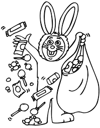 This Kid In The Bunny Costume Collected A Lot Of Halloween Candy Coloring Page