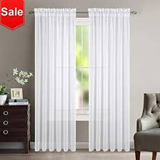 NICETOWN Sheer Curtain Panels For Dining Room Semi Voile Drapes Faux Linen Curtains