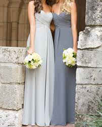 a line empire waist sweetheart silver chiffon long bridesmaid
