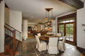 tamko rustic slate dining room with tile floor gold flush