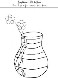 dessine moi une fleur et un pot de fleur dans la famille
