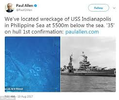 Uss America Sinking Location by Paul Allen Announces Discovery Of Sunken Wwii Ship Daily Mail Online