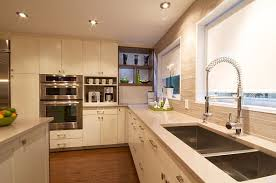 Designs IdeasSmall Low Ceiling Kitchen With White Cabinet Also Double Stainless Steel Sinks