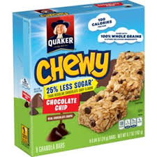 Quaker Chewy 25 Less Sugar Chocolate Chip Granola Bars
