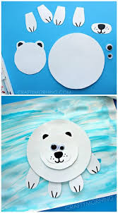 Paper Polar Bear On Ice Craft For Kids Winter Art Project