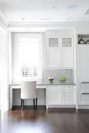 white and gray porcelain and glass backsplash tiles transitional