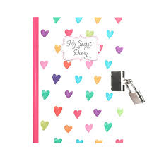Journal intime carnet secret cadenas pour fille avec des coeurs