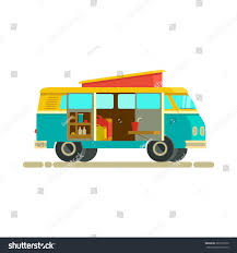 Vector Illustration Retro Camper Van Journey Stock Vector (Royalty ...