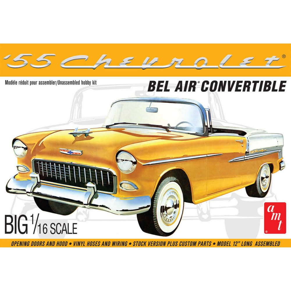 AMT 1134 1/16 1955 Chevy Bel Air Convertible Model Kit