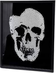 wandbild bild totenkopf skull glasbild wohnzimmer deko schwarz mit glitzer 50x40cm