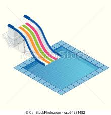 Isometric Colourful Water Slide With Pool Aquapark Equipment Set For Design Swimming And Slides Vector Illustration Isolated On White