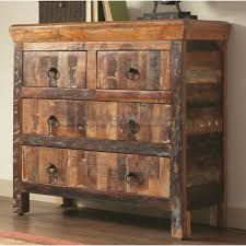 Rustic 4 Drawer Reclaimed Wood Accent Cabinet 950366
