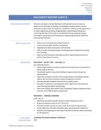 Machinist Resume Example Ideas Of Online