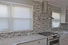endearing white grey colors mosaic pattern glass tile kitchen