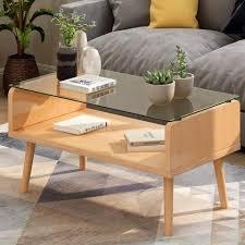 merax couchtisch holz couchtische beistelltisch mit ablage glas laptoptisch sofatisch kaffeetisch einfacher aufbau für wohnzimmer schlafzimmer