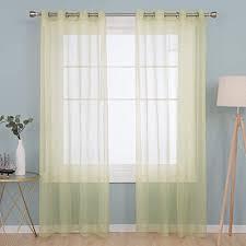 deconovo 2er set vorhang transparente gardinen wohnzimmer schlafzimmer ösenvorhang modern 240x140 cm matcha grün