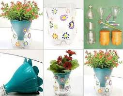 Flower Pot Flowers Made From Plastic Bottles