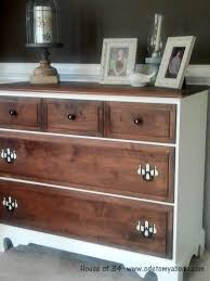 Sauder Harbor View Dresser Antiqued Paint by Two Tone Dresser With Black And White Striped Handles From House