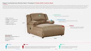 hogan contemporary mocha fabric pressback chaise w cushion back