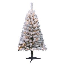 Holiday Time 4ft Pre Lit Flocked Greenfield Pine Artificial Christmas Tree With 105 Clear Lights